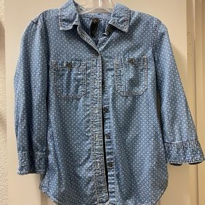 Seven 7 chambray 3/4 sleeve button up
